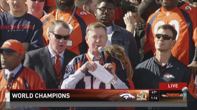 Governor John Hickenlooper speaks at the Denver Broncos Super Bowl 50 rally. 9NEWS at 1 p.m. 2/9/2016.