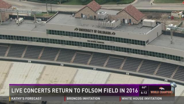 Live concerts to return to Folsom Field in 2016