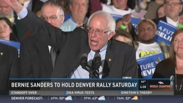 Bernie Sander to hold Denver rally Saturday.