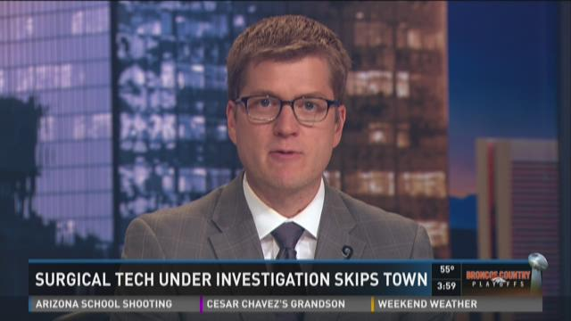 Surgical tech under investigation skips town