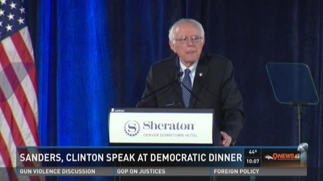 Sanders, Clinton speak at Democratic dinner