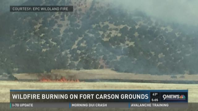 Wildfire burning on Fort Carson grounds