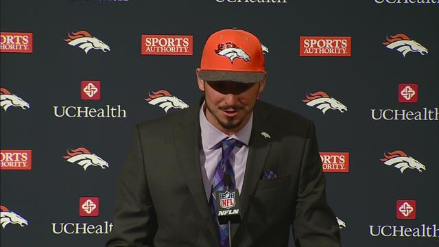 Paxton Lynch addresses media for first time as a Bronco