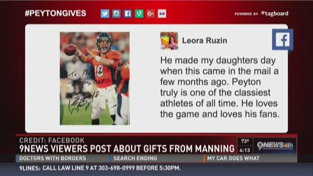 9NEWS viewers post about gifts from Peyton