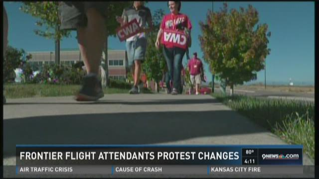 Frontier flight attendants protest changes